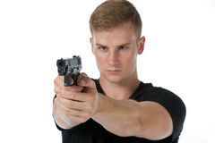 Agent with a gun Royalty Free Stock Photography