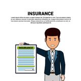 Agent Hold Insurance Form Property Protection And Safety Concept. Vector Illustration Royalty Free Stock Photo