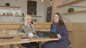 Agent immobilier femelle communiquant avec le client en café banque de vidéos