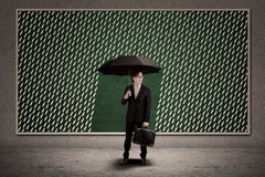 Agent insurance bring umbrella in front rain illustration Stock Photography