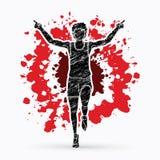 Agent jogger, het Atletische Lopen, de winnaar grafische vector stock illustratie