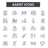 Agent line icons. Editable stroke signs. Concept icons: real estate, showing house, home, salesperson etc. Agent outline. Agent line icons. Editable stroke royalty free illustration