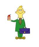 Agent met aktentas en huis Stock Foto