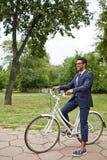Agent na bicyklu w parku Zdjęcia Stock