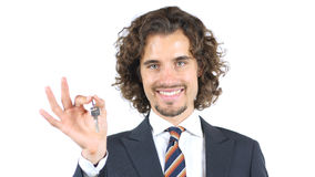 Agent nieruchomości daje klucza klienta obrazy royalty free