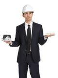 Agent nieruchomości ręk modela dolary i dom Obraz Royalty Free