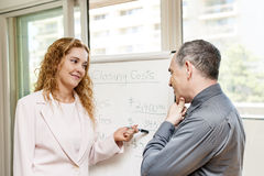 Agent presenting real estate costs. Real estate agent using flip chart with closing cost data royalty free stock photography