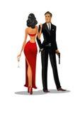 Agent secret avec l'arme à feu et le verre La femme en rouge a tourné le sien de nouveau à Images stock