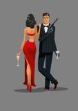 Agent secret avec l'arme à feu et le verre La femme en rouge a tourné le sien de nouveau à Image libre de droits