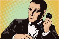 Agent secret sur une mission Les gens dans le rétro style illustration stock