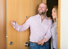 Agent showing to female apartment Royalty Free Stock Photo