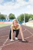 Agent - vrouw die in openlucht opleiding in werking stellen Royalty-vrije Stock Foto