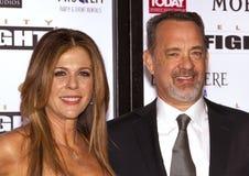 Agente americano Tom Hanks y su esposa Rita Wilson imágenes de archivo libres de regalías