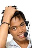 Agente asiático del llamar-centro Foto de archivo libre de regalías