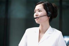 Agente cinese di servizio del sustomer Fotografia Stock