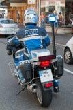 Agente da polícia alemão na motocicleta Fotografia de Stock