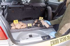 Agente da polícia que mantém o pacote da droga descoberto no tronco de um carro fotos de stock royalty free