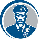 Agente da polícia Radio Circle do agente de segurança Foto de Stock