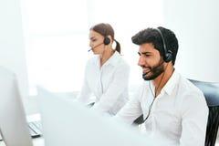 Agente de centro Consulting Customers Online del contacto fotografía de archivo