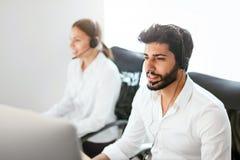 Agente de centro Consulting Customers Online del contacto foto de archivo