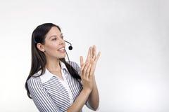 Agente de la señora centro de atención telefónica foto de archivo libre de regalías