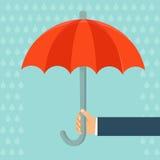 Agente de seguro del vector que sostiene el paraguas stock de ilustración