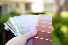 Agente de ventas que elige las muestras del color para el proyecto de diseño foto de archivo libre de regalías