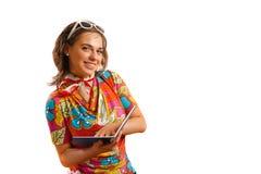 Agente de viajes que sonríe en la cámara Imagen de archivo libre de regalías