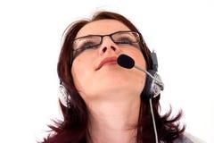 Agente del servicio de atención al cliente que mira al futuro Imágenes de archivo libres de regalías