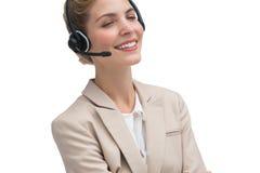 Agente di servizio di assistenza al cliente che sorride alla macchina fotografica Immagine Stock
