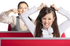Agente enfurecido del centro de atención telefónica Fotografía de archivo libre de regalías