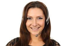Agente feliz del callcenter Imagenes de archivo