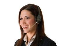 Agente feliz del servicio de atención al cliente imagen de archivo