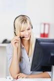 Agente femminile della call center Fotografie Stock Libere da Diritti