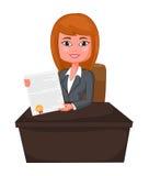 Agente Giving da mulher de negócio uma apresentação ao traje Imagens de Stock