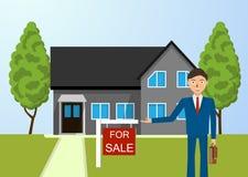 Agente immobiliare, cottage da vendere Fotografia Stock