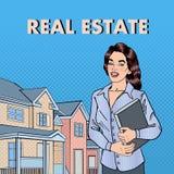 Agente inmobiliario de la mujer Agente de sexo femenino Near New House Arte pop stock de ilustración
