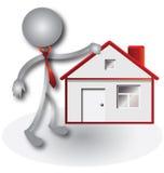 Agente inmobiliario e insignia roja de la casa ilustración del vector