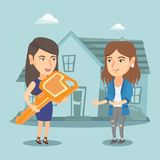 Agente inmobiliario que da llave a un dueño de nueva casa libre illustration