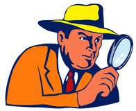 Agente investigativo con i glas d'ingrandimento illustrazione di stock