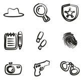Agente investigativo Icons Freehand Fotografie Stock
