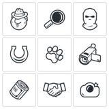 Agente investigativo Icons Set Illustrazione di vettore Fotografie Stock Libere da Diritti