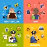 Agente investigativo privato Concept Icons Set Immagine Stock