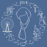 Agente investigativo privato Sherlock Holmes con gli strumenti e il equipme di varietà illustrazione di stock