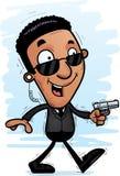 Agente negro Walking de la historieta Foto de archivo libre de regalías