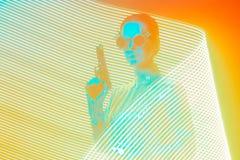 Agente secreto com a arma no PNF Art Light Painting Effect Backdrop imagens de stock royalty free