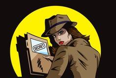 Agente secreto com planos Imagem de Stock Royalty Free