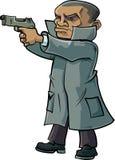 Agente secreto dos desenhos animados com um revestimento e uma arma de trincheira Imagens de Stock