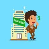 Agente y edificio del agente inmobiliario para la venta stock de ilustración