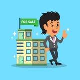 Agente y edificio del agente inmobiliario para la venta ilustración del vector